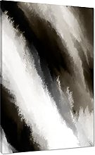 Abstract Beige Grey Oil Paint Effect Canvas Wall