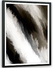 Abstract Beige Grey Oil Paint Effect Framed Wall