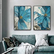 Abstract Blue Flower Canvas Painting print Nordic