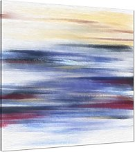 Abstract Blue Yellow Oil Paint Effect Canvas Wall