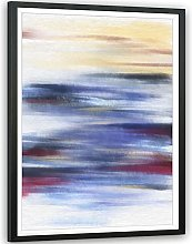 Abstract Blue Yellow Oil Paint Effect Framed Wall