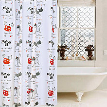 Abstract cat shower curtain with letters, bathroom