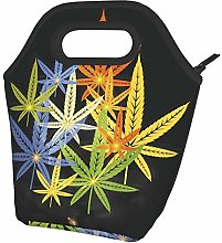 Abstract Colorful Cannabis Leafs On Dark Portable