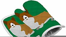 Abstract Corgi Green Heat Resistant Oven Gloves