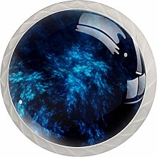 Abstract Dark Blue 4pcs Glass Cupboard Cabinet
