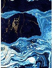 Abstract Dark Blue Gold Drips Art Print Canvas