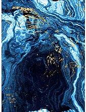 Abstract Dark Blue Gold Flow Art Print Canvas