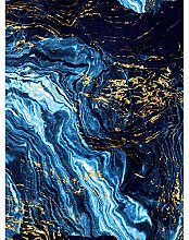 Abstract Dark Blue Gold Pour Art Print Canvas