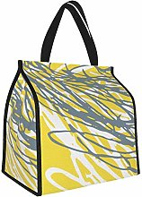 Abstract Design in Gray and Yellow Lunch Tote Bags