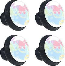 Abstract Elephant 4PCS Cabinet Knobs, Round Drawer