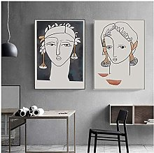 Abstract Figure Profile Canvas Paintings Wall Art
