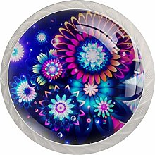 Abstract Flowers Digital Art Round Cabinet Knobs