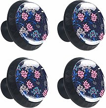 Abstract Flowers Pattern Cabinet Door Knobs