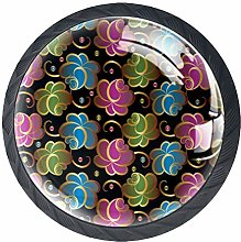 Abstract Flowers Solid Kitchen Cabinet Knobs Round