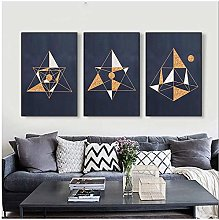Abstract Geometry Art Canvas Painting Golden Lines