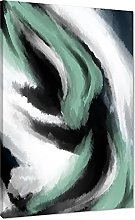 Abstract Green Grey Oil Paint Effect Canvas Wall
