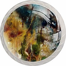 Abstract Landscape Painting 4pcs Glass Cupboard