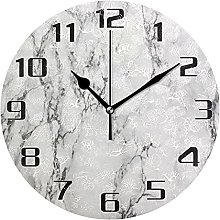 Abstract Marble Texture Print Wall Clock Silent