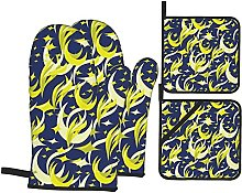 Abstract Moon Stars Feathers Flames Graphic Yellow
