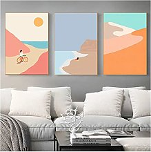 Abstract Mountain Poster Sunset Beach Cycling