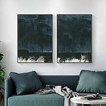 Abstract Nordic Dark Blue Wall Art Pictures Poster