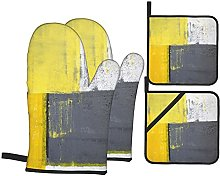 Abstract Pale Yellow Squares Print,4Pcs Oven Mitts