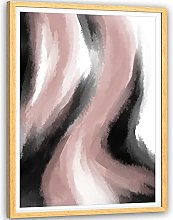 Abstract Pink Grey Oil Paint Effect Framed Wall