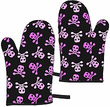 Abstract Pink Skull On Black Oven Mitts