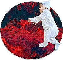 Abstract red, Kids Round Rug Polyester Throw Area