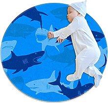 Abstract Shark, Kids Nursery Rug Play Mat Round