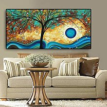 Abstract Tree Sunset Wave Oil Painting Canvas