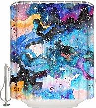 不适用 Abstract Watercolor Bathroom Shower