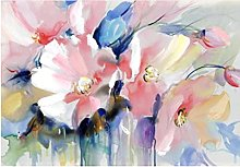 Abstract Watercolor Flower Oil Painting Print on