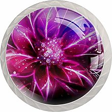 Abstractflowersplants Round Cabinet Knobs 4pcs