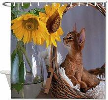 Abyssinian Kitten Relaxing In Her Basket Polyester