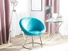 Accent Chair Blue Upholstery Velvet Round Seat