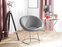 Accent Chair Grey Upholstery Velvet Round Seat