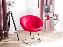 Accent Chair Red Upholstery Velvet Round Seat