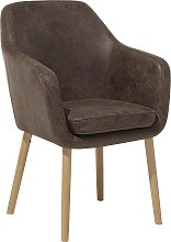 Accent Dining Chair Upholstered Faux Leather Brown
