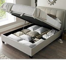 Accent Oatmeal Fabric Ottoman Storage Bed Frame -