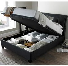 Accent Slate Fabric Ottoman Storage Bed Frame -