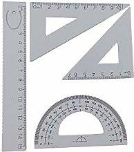 Accod Aluminum Alloy Ruler Set Math Geometry Tool