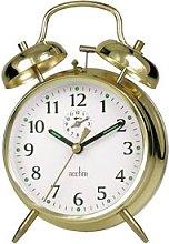 Acctim Saxon Large Double Bell Alarm Clock Brass
