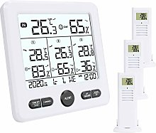 Aceshop Indoor Outdoor Thermometer with 3 Wireless