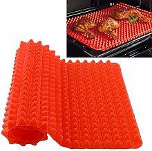AchidistviQ Barbecue Mat Red Pyramid Pan Nonstick