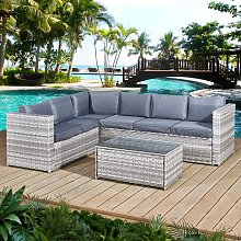 Acorn Rattan 6 Seat Corner Sofa Set in Dove Grey