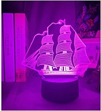 Acrylic 3d Illusion Led Table Lamp Sailboat Color