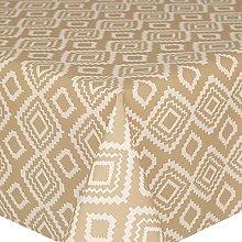 Acrylic Coated Tablecloth Geo Beige 2 Metres