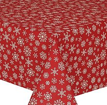 Acrylic Coated Tablecloth Red Snowflakes 2 Metres
