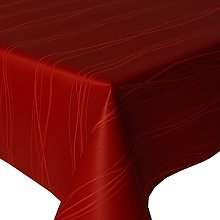 Acrylic Coated Tablecloth Waves Red 3.5 Metres